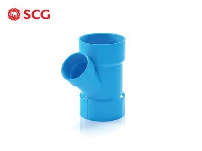 ข้อต่อ PVC สามทางวายลด-บาง สีฟ้า ตราช้าง SCG