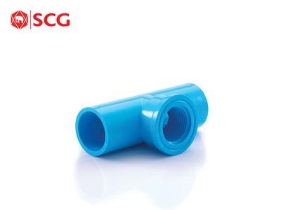 ข้อต่อ PVC สามทางเกลียวใน-หนา สีฟ้า ตราช้าง SCG