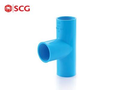 ข้อต่อ PVC สามทาง 90 หนา สีฟ้า ตราช้าง SCG