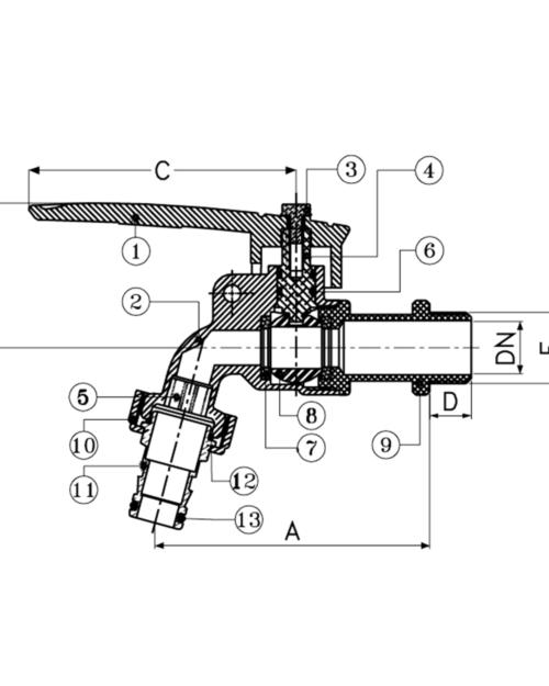 SANWA ก๊อกบอลสนามล็อคกุญแจ รุ่น CKT 15 L ขนาด 1/2 นิ้ว