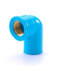 ข้องอ 90 เกลียวใน ทองเหลือง SCG ขนาด 3/4 นิ้ว สีฟ้า
