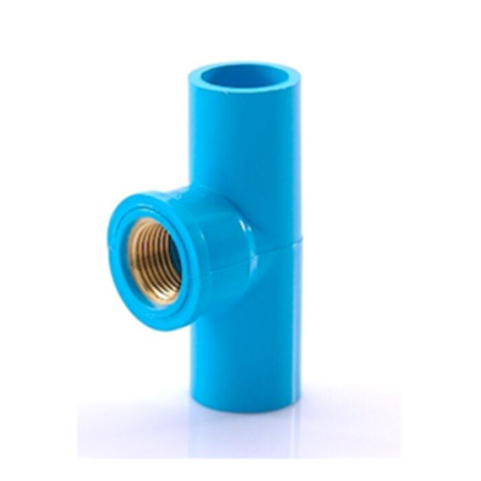 ข้อต่อสามทางเกลียวใน ทองเหลือง สีฟ้า SCG ขนาด 18 มม. (1/2 นิ้ว)