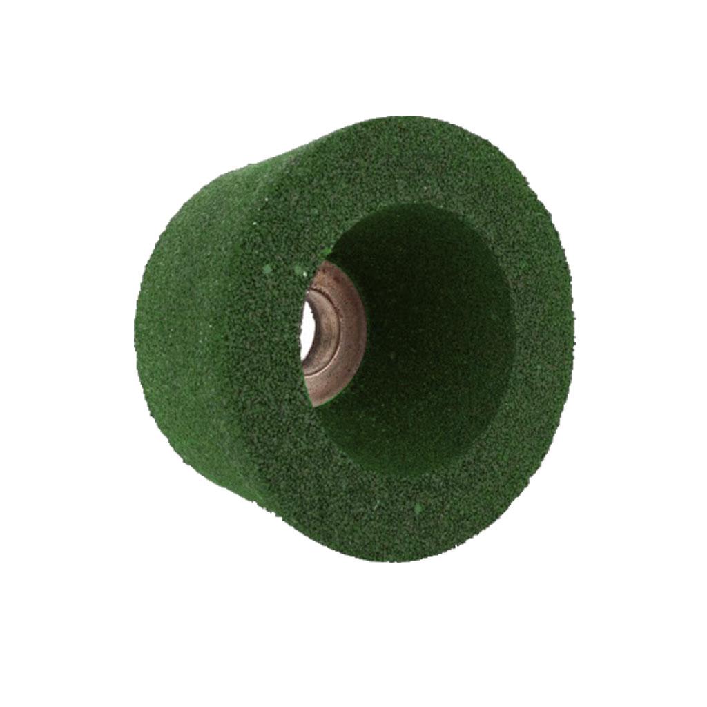 หินถ้วยขัดพื้นตราเสือ สีเขียว
