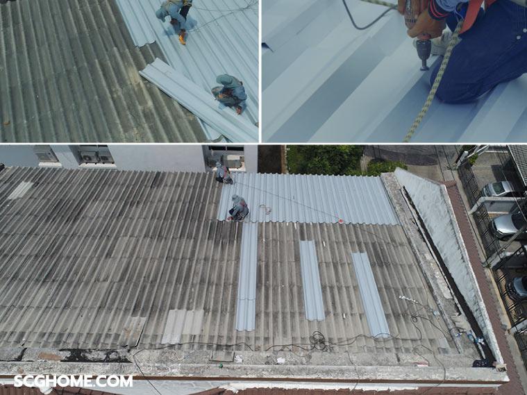 รีวิวบริการ Top Up Roof ซ่อมหลังคารั่วทาวน์เฮาส์ จบ ง่าย ไม่กระทบเพื่อนบ้าน