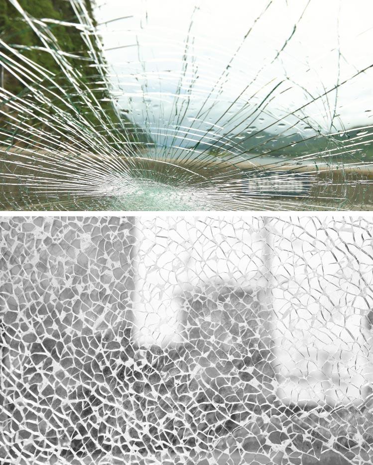 ภาพ: กระจกติดฟิล์มนิรภัย เมื่อถูกของกระแทกจะยังคงรูปเป็นแผ่นดังเดิมเช่นเดียวกัน