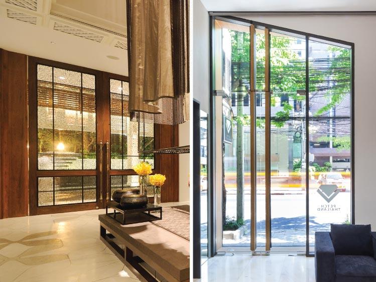 ภาพ: ประตูบานสวิงที่สามารถเปิดเข้าหรือเปิดออกก็ได้ ขอบคุณสถานที่: (ซ้าย) อินเตอร์คอนติเนนทัล หัวหิน รีสอร์ท (ขวา) SIRI HOUSE (SHOP HOUSE)