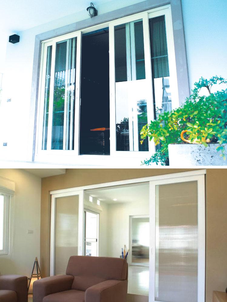 ภาพ: (ซ้าย) ประตูบานเลื่อนคู่แบบรางล่าง (ขวา) ประตูบานเลื่อนคู่แบบรางบน
