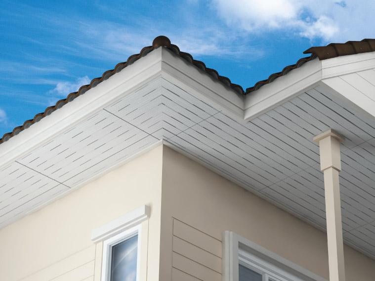 ภาพ: ฝ้าเพดานภายนอกแบบเซาะร่องพร้อมรูระบายอากาศ