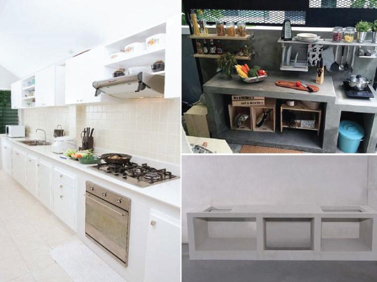 ตัวอย่างเคาน์เตอร์ครัวมวลเบาสำเร็จรูป (ซ้าย) วัสดุท็อปเคาน์เตอร์หินธรรมชาติ และงานบิ๊วอินสีขาว, (ขวา) ฉาบปูนทำผิวขัดมัน ปล่อยโล่งเป็นช่องเก็บของ