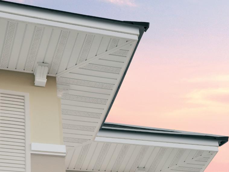ภาพ: ฝ้าเพดานภายนอก ในรูปของฝ้าไวนิลพร้อมรูระบายอากาศ