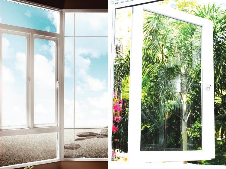 ภาพ: หน้าต่างบานเปิดแบบค้างโดยไม่ต้องใช้ตัวล็อค (บานพับแบบวิทโก้)