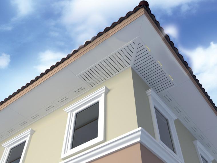 ภาพ: ฝ้าเพดานภายนอกแบบผสมผสาน ทั้งฝ้าแผ่นทึบ ฝ้าระบายอากาศ และระแนงไม้ตีเว้นร่องระบายอากาศ