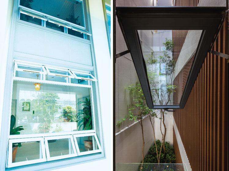 ภาพ: หน้าต่างบานกระทุ้ง ขอบคุณสถานที่ (ภาพขวา): SIRI HOUSE (SHOP HOUSE)