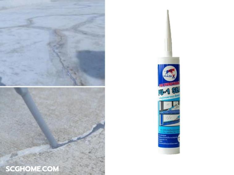 ภาพ: ตัวอย่างการซ่อมรอยแตกร้าวบนพื้นผิวคอนกรีต ด้วยวัสดุ PU ยาแนว