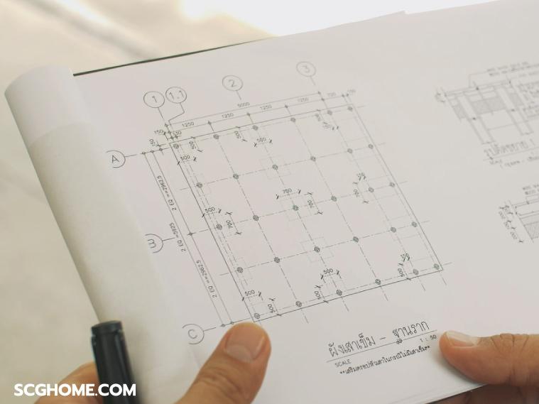 ภาพ: ตัวอย่างผังเสาเข็มที่รองรับบ้านขนาดเล็กชั้นเดียว ซึ่งหากสร้างเป็นบ้าน 2 ชั้น จะได้พื้นที่เพิ่มขึ้นมาก โดยใช้เสาเข็มจำนวนเท่ากัน